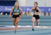 26 March 2017; Katie Murphy of Ferrybank AC, Co Waterford and Leah Raggett of Kilkenny City Harriers, Co Kilkenny, competing in their U18 Women's 60m Heat during the Irish Life Health Juvenile Indoor Championships 2017 day 2 at the AIT International Arena in Athlone, Co. Westmeath. Photo by Sam Barnes/Sportsfile