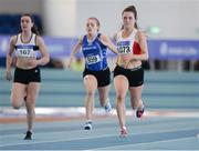 26 March 2017; Alana Ryan of Greystones and District AC, Co Wicklow  competing in her U18 Women's 60m Heat during the Irish Life Health Juvenile Indoor Championships 2017 day 2 at the AIT International Arena in Athlone, Co. Westmeath. Photo by Sam Barnes/Sportsfile