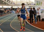 26 March 2017; Luke Brennan of Waterford AC, Co Waterford, celebrates after winning the U17 Men's 1500m event during the Irish Life Health Juvenile Indoor Championships 2017 day 2 at the AIT International Arena in Athlone, Co. Westmeath. Photo by Sam Barnes/Sportsfile