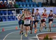 26 March 2017; Aaron Brennan of Galway City Harriers, Co Galway, leads the field during the U17 Men's 1500m event during the Irish Life Health Juvenile Indoor Championships 2017 day 2 at the AIT International Arena in Athlone, Co. Westmeath. Photo by Sam Barnes/Sportsfile