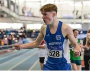 26 March 2017; Luke Brennan of Waterford AC, Co. Waterford, celebrates after winning the U17 Men's 1500m event during the Irish Life Health Juvenile Indoor Championships 2017 day 2 at the AIT International Arena in Athlone, Co. Westmeath. Photo by Sam Barnes/Sportsfile