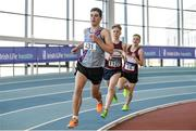 26 March 2017; James Maguire of Dundrum South Dublin AC, Co. Dublin, on his way to winning the U18 Men's 1500m event during the Irish Life Health Juvenile Indoor Championships 2017 day 2 at the AIT International Arena in Athlone, Co. Westmeath. Photo by Sam Barnes/Sportsfile