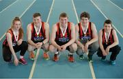 26 March 2017; Siblings, from left, Anna Ryan, Daniel Ryan, David Ryan, Jack Ryan and Dillon Ryan, all of Moycarkey Coolcroo AC, Co. Tipperary, pose for a picture with their medals during the Irish Life Health Juvenile Indoor Championships 2017 day 2 at the AIT International Arena in Athlone, Co. Westmeath. Photo by Sam Barnes/Sportsfile