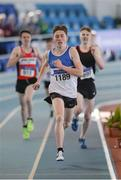 26 March 2017; Robert Crowley of St Laurence O'Toole AC, Co. Carlow, on his way to winning the U19 Men's 1500m event during the Irish Life Health Juvenile Indoor Championships 2017 day 2 at the AIT International Arena in Athlone, Co. Westmeath. Photo by Sam Barnes/Sportsfile