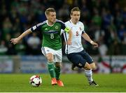 26 March 2017; Steven Davis of Northern Ireland in action against Stefan Johansen of Norway during the FIFA World Cup Qualifer Group C match between Northern Ireland and Norway at Windsor Park in Belfast. Photo by Oliver McVeigh/Sportsfile