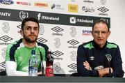 27 March 2017; Robbie Brady, left, of Republic of Ireland and manager Martin O'Neill during a press conference at FAI National Training Centre in Abbotstown, Co. Dublin. Photo by David Maher/Sportsfile