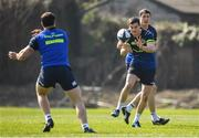 27 March 2017; Jonathan Sexton of Leinster takes a pass from team-mate Robbie Henshaw during a Leinster rugby squad training session at Rosemount, UCD, in Dublin. Photo by Brendan Moran/Sportsfile