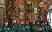 8 September 2011; members of the Ireland squad, from left, Ronan O'Gara, Donnacha Ryan, Tommy Bowe, Rory Best, Shane Jennings, Tony Buckley, Conor Murray, Denis Leamy, and Donncha O'Callaghan look on during a welcome ceremony in Owae Marae Waitara, the local Maori cultural parliament, ahead of their Pool C opening game against the USA on the 11th of September. Ireland Rugby Squad Welcome Ceremony - 2011 Rugby World Cup, Owae Marae Waitara, Waitara, New Zealand. Picture credit: Brendan Moran / SPORTSFILE