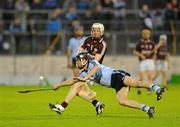 10 September 2011; Jason Grealish, Galway, gets his shot away despite the challenge of Robert Mahon, Dublin. Bord Gais Energy GAA Hurling Under 21 All-Ireland 'A' Championship Final, Dublin v Galway, Semple Stadium, Thurles, Co. Tipperary. Picture credit: Dáire Brennan / SPORTSFILE