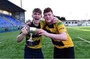 26 March 2017; Carlow's Ross Dunphy, left, and Liam Slater following the Leinster Under 18 Youth Premier League Final between Carlow and Skerries at Donnybrook Stadium in Dublin. Photo by Ramsey Cardy/Sportsfile