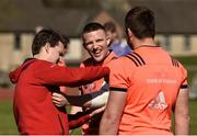 27 March 2017; Andrew Conway, centre, and CJ Stander of Munster in conversation as Conway gets some strapping applied by lead physio Damien Mordan, left, before squad training at the University of Limerick in Limerick. Photo by Diarmuid Greene/Sportsfile