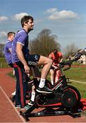 27 March 2017; Dave O'Callaghan of Munster uses a watt bike during squad training at the University of Limerick in Limerick. Photo by Diarmuid Greene/Sportsfile