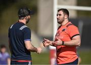 27 March 2017; James Cronin, right, of Munster in conversation with head of fitness Aled Walters before squad training at the University of Limerick in Limerick. Photo by Diarmuid Greene/Sportsfile
