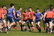 27 March 2017; Munster players including Stephen Fitzgerald, Francis Saili, Darren Sweetnam and Bill Johnston warm up during Munster Rugby squad training at the University of Limerick in Limerick. Photo by Diarmuid Greene/Sportsfile