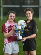 28 March 2017; The Lidl All Ireland Post Primary School's Finals take place this weekend. The Lidl Junior A Final takes place in Birr on Friday at 1:00pm when John the Baptist from Limerick face Loreto of Cavan. The Lidl Junior B sees St. Angela's (Waterford) meet Mercy Ballymahon (Longford) in Clane at 3pm on Sunday and the C Final will take place on Friday when St. Columba's Glenties play Coláiste Baile Chláir (Galway). In attendance during the Lidl Post Primary Schools Junior Finals Media Day are Lauren McVeety, left, from Loreto Cavan and Anna Rose Kennedy, from John the Baptist School at Clonlife College, in Dublin. Photo by Eóin Noonan/Sportsfile