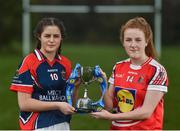 28 March 2017; In attendance during the Lidl Post Primary Schools Junior Finals Media Day are Ciara Healy, left, from Mercy Ballymahon of Longford, and Emma Flynn from St. Angela's of Waterford at Clonlife College, in Dublin. The Lidl All Ireland Post Primary School's Finals take place this weekend. The Lidl Junior A Final takes place in Birr on Friday at 1:00pm when John the Baptist from Limerick face Loreto of Cavan. The Lidl Junior B sees St. Angela's of Waterford meet Mercy Ballymahon of Longford, in Clane at 3pm on Sunday and the C Final will take place on Friday when St. Columba's Glenties of Donegal play Coláiste Baile Chláir of Galway. Photo by Eóin Noonan/Sportsfile