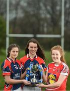 28 March 2017; In attendance during the Lidl Post Primary Schools Junior Finals Media Day are Ciara Healy, left, along with Roisin Leen, centre, both from Mercy Ballymahon of Longford, and Emma Flynn from St. Angela's of Waterford at Clonlife College, in Dublin. The Lidl All Ireland Post Primary School's Finals take place this weekend. The Lidl Junior A Final takes place in Birr on Friday at 1:00pm when John the Baptist from Limerick face Loreto of Cavan. The Lidl Junior B sees St. Angela's of Waterford meet Mercy Ballymahon of Longford, in Clane at 3pm on Sunday and the C Final will take place on Friday when St. Columba's Glenties of Donegal play Coláiste Baile Chláir of Galway. Photo by Eóin Noonan/Sportsfile