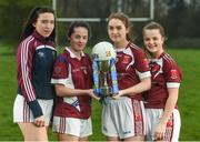 28 March 2017; In attendance at the Lidl Post Primary Schools Junior Finals Media Day are from left, Laura Flynn and Ciara McCarthy from Coláiste Baile Chláir of Galway, along with Niamh Gallagher and Sarah Harkin from St. Columba's Glenties of Donegal at Clonlife College, in Dublin. The Lidl All Ireland Post Primary School's Finals take place this weekend. The Lidl Junior A Final takes place in Birr on Friday at 1:00pm when John the Baptist from Limerick face Loreto of Cavan. The Lidl Junior B sees St. Angela's of Waterford meet Mercy Ballymahon of Longford in Clane at 3pm on Sunday and the C Final will take place on Friday when St. Columba's Glenties of Donegal play Coláiste Baile Chláir of Galway. Photo by Eóin Noonan/Sportsfile