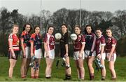 28 March 2017; In attendance at the Lidl Post Primary Schools Junior Finals Media Day are from left, Emma Flynn of St Angela's from Waterford, Roisin Leen and Ciara Healy both of Mercy Ballymahon from Longford, Lauren McVeety of Loreto from Cavan, Anna Rose Kennedy of John the Baptist School from Limerick, Niamh Gallagher of St. Columba's from Glenties Donegal, Laura Flynn of Coláiste Baile Chláir from Galway, Ciara McCarthy of Coláiste Baile Chláir from Galway and Sarah Harkin of St. Columba's Glenties from Donegal at Clonlife College, in Dublin. The Lidl All Ireland Post Primary School's Finals take place this weekend. The Lidl Junior A Final takes place in Birr on Friday at 1:00pm when John the Baptist from Limerick face Loreto of Cavan. The Lidl Junior B sees St. Angela's of Waterford meet Mercy Ballymahon of Longford in Clane at 3pm on Sunday and the C Final will take place on Friday when St. Columba's Glenties of Donegal play Coláiste Baile Chláir of Galway. Photo by Eóin Noonan/Sportsfile
