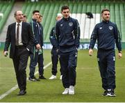 28 March 2017; Republic of Ireland manager Martin O'Neill, left, with both John Egan and Robbie Brady prior to the International Friendly match between the Republic of Ireland and Iceland at the Aviva Stadium in Dublin. Photo by David Maher/Sportsfile