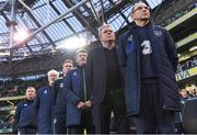 28 March 2017; The Republic of Ireland bench, from right, manager Martin O'Neill, coach Steve Walford, assistant manager Roy Keane, coach Steve Guppy, goalkeeping coach Seamus McDonagh, and Dr. Alan Byrne, team doctor, before the International Friendly match between the Republic of Ireland and Iceland at the Aviva Stadium in Dublin. Photo by David Maher/Sportsfile