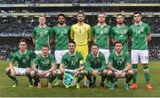 28 March 2017; The Republic of Ireland team, back row, from left to right, James McClean, Cyrus Christie, Keiren Westwood, Alex Pearce, Conor Hourihane and John Egan. Front row, from left to right, Kevin Doyle, Jonathan Hayes, Robbie Brady, Aiden McGeady and Jeff Hendrick prior to the International Friendly match between the Republic of Ireland and Iceland at the Aviva Stadium in Dublin. Photo by David Maher/Sportsfile