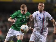 28 March 2017; James McClean of Republic of Ireland in action against Ragnar Sigurdsson of Iceland during the International Friendly match between the Republic of Ireland and Iceland at the Aviva Stadium in Dublin. Photo by Matt Browne/Sportsfile