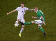 28 March 2017; James McClean of Republic of Ireland in action against Birkier Mar Saevarsson of Iceland during the International Friendly match between the Republic of Ireland and Iceland at the Aviva Stadium in Dublin. Photo by Eóin Noonan/Sportsfile