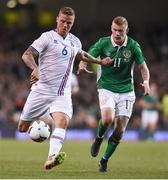 28 March 2017; Ragnar Sigurdsson of Iceland in action against James McClean of Republic of Ireland during the International Friendly match between the Republic of Ireland and Iceland at the Aviva Stadium in Dublin. Photo by Matt Browne/Sportsfile