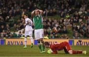 28 March 2017; Kevin Doyle of Republic of Ireland reacts during the closing moments of the International Friendly match between the Republic of Ireland and Iceland at the Aviva Stadium in Dublin. Photo by David Maher/Sportsfile
