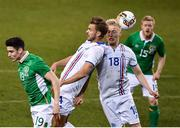 28 March 2017; Callum O'Dowda of Republic of Ireland in action against Holmar Eyjolfsson, centre, and Hordur Bjorgvin Magnusson of Iceland during the International Friendly match between the Republic of Ireland and Iceland at the Aviva Stadium in Dublin.  Photo by Ramsey Cardy/Sportsfile