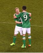 28 March 2017; Shane Long, right, and Daryl Horgan of Republic of Ireland after the International Friendly match between the Republic of Ireland and Iceland at the Aviva Stadium in Dublin. Photo by Eóin Noonan/Sportsfile