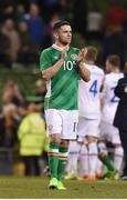 28 March 2017; Captain Robbie Brady of the Republic of Ireland after the final whistle during the International Friendly match between the Republic of Ireland and Iceland at the Aviva Stadium in Dublin. Photo by Matt Browne/Sportsfile