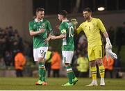28 March 2017; Andy Boyle, left, Robbie Brady, centre, and Keiren Westwood of Republic of Ireland after the International Friendly match between the Republic of Ireland and Iceland at the Aviva Stadium in Dublin. Photo by David Maher/Sportsfile