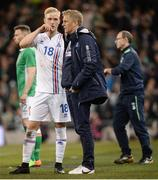 28 March 2017; Hordur Bjorgvin Magnusson of Iceland in conversation with Iceland manager Heimir Hallgrimsson during the International Friendly match between the Republic of Ireland and Iceland at the Aviva Stadium in Dublin. Photo by Cody Glenn/Sportsfile