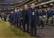 28 March 2017; Martin O'Neill manager of Republic of Ireland lines up with the backroom staff before the International Friendly match between the Republic of Ireland and Iceland at the Aviva Stadium in Dublin. Photo by David Maher/Sportsfile