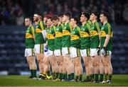 29 March 2017; The Kerry players stand for a moments silence in memory of Breda Sheehy, mother of Kerry senior football selector Mikey Sheehy, prior to the EirGrid Munster GAA Football U21 Championship Final match between Cork and Kerry at Páirc Ui Rinn in Cork. Photo by Stephen McCarthy/Sportsfile