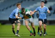 29 March 2017; Adam Mahon of Offaly in action against Aaron Byrne, left, and Brian Howard of Dublin during the EirGrid Leinster GAA Football U21 Championship Final match between Dublin and Offaly at O'Moore Park in Portlaoise, Co Laois. Photo by Piaras Ó Mídheach/Sportsfile