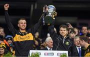 17 March 2017; Fionn, left, and Cillian Fitzgerald of Dr. Crokes celebrate with the Andy Merrigan Cup after the AIB GAA Football All-Ireland Senior Club Championship Final match between Dr. Crokes and Slaughtneil at Croke Park in Dublin.   Photo by Brendan Moran/Sportsfile