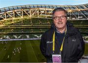 28 March 2017; RTE commentator George Hamilton ahead of the International Friendly match between the Republic of Ireland and Iceland at the Aviva Stadium in Dublin. Photo by Eóin Noonan/Sportsfile