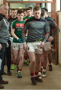 26 March 2017; Cillian O'Connor of Mayo leading his team out as Mayo Selector Donie Buckley watches on before the Allianz Football League Division 1 Round 6 match between Tyrone and Mayo at Healy Park in Omagh. Photo by Oliver McVeigh/Sportsfile