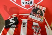 31 March 2017; A general view of a black armband and match jersey, with the number 5 in honour of their former captain Ryan McBride, that Derry City will play in tonight ahead of the side's SSE Airtricity League Premier Division match between Derry City and Bray Wanderers at Maginn Park in Buncrana, Co. Donegal. Photo by Oliver McVeigh/Sportsfile