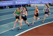 1 April 2017; Saoirse O'Brien of Westport AC, Co Mayo, left, on their way to winning their U16 Girl's 800m heat ahead of Daniella Jansen of Finn Valley AC, Co Donegal, 577, who finished second, during the Irish Life Health Juvenile Indoor Championships 2017 day 3 at the AIT International Arena in Athlone, Co. Westmeath. Photo by Sam Barnes/Sportsfile