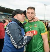1 April 2017; Meath manager Martin Ennis celebrates with Keith Keoghan after the Allianz Hurling League Division 2B Final match between Meath and Wicklow at Parnell Park, in Dublin. Photo by Daire Brennan/Sportsfile