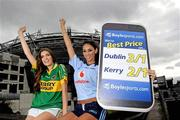 16 September 2011; Models Hannah Devane, left, and Georgia Salpa, pictured at the Boylesports mobile site photocall. Jury's Inn, Croke Park, Dublin. Picture credit: Brian Lawless / SPORTSFILE