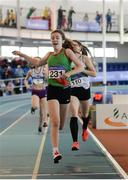 1 April 2017; Saoirse O'Brien of Westport AC, Co Mayo, on their way to winning the U16 Girl's 800m event during the Irish Life Health Juvenile Indoor Championships 2017 day 3 at the AIT International Arena in Athlone, Co. Westmeath. Photo by Sam Barnes/Sportsfile