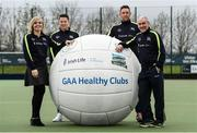 2 April 2017; GAA Healthy Club Ulster Roadshow- inspiring GAA clubs to become hubs for health.  Pictured at the GAA Ulster Healthy Clubs Roadshow is (l-r) Anna Geary, former Cork Camogie captain, Philly McMahon, Gaelic footballer for Dublin and Ballymun Kickhams, Michael Fennelly, hurler with the Kilkenny senior team and Mickey Harte, manager of the Tyrone senior inter-county team. The GAA Healthy Clubs Project (HCP), in partnership with Irish Life and Healthy Ireland, aims to inspire and empower more GAA clubs to support their members and communities in pursuit of better physical, social, and mental wellbeing.  The Ulster Healthy Club Roadshow is the final part of a series of roadshows that took place across the country since January 2017. For more information about the GAA's HCP visit: www.gaa.ie/community. Follow: @officialgaa or Like: www.facebook.com/officialgaa/    GAA Healthy Club Roadshow - Ulster at Jordanstown Ulster University, in Belfast. Photo by Oliver McVeigh/Sportsfile