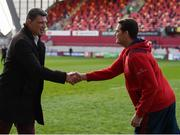 1 April 2017; Toulouse sporting director Fabien Pelous, left, and Munster director of rugby Rassie Erasmus exchange a handshake ahead of the European Rugby Champions Cup Quarter-Final match between Munster and Toulouse at Thomond Park in Limerick. Photo by Diarmuid Greene/Sportsfile