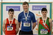 1 April 2017; U16 Boy's Shot Put medallists, from left, Gary Randles of Kenmare AC, Co Kerry, bronze, Shane Cawley of Waterford AC, Co Waterford, gold, and Adam Sheridan of Westport AC, Co Mayo, silver, during the Irish Life Health Juvenile Indoor Championships 2017 day 3 at the AIT International Arena in Athlone, Co. Westmeath. Photo by Sam Barnes/Sportsfile