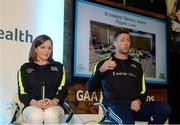 2 April 2017; GAA Healthy Club Ulster Roadshow- inspiring GAA clubs to become hubs for health. Pictured at the GAA Ulster Healthy Clubs Roadshow is (l-r)  Marie Anne Forester of St Josephs GAC Glenavy, Antrim along with Michael Fennelly, hurler with the Kilkenny senior team. The GAA Healthy Clubs Project (HCP), in partnership with Irish Life and Healthy Ireland, aims to inspire and empower more GAA clubs to support their members and communities in pursuit of better physical, social, and mental wellbeing.  The Ulster Healthy Club Roadshow is the final part of a series of roadshows that took place across the country since January 2017. For more information about the GAA's HCP visit: www.gaa.ie/community. Follow: @officialgaa or Like: www.facebook.com/officialgaa/ GAA Healthy Club Roadshow - Ulster at Jordanstown Ulster University, in Belfast. Photo by Oliver McVeigh/Sportsfile